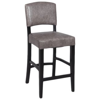 Grey Leather 30-inch Stationary Solid Birch Bar Stool