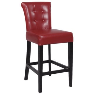 Stationary 26-inch Red Solid Birch Counter Stool