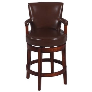 Antique Brown Solid Birch Swivel Counter Stool