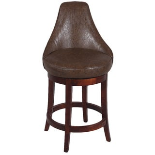 Brown 26-inch Solid Birch Swivel Counter Stool