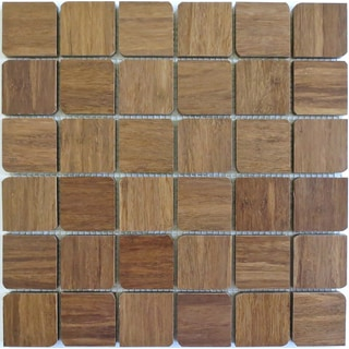 Harvest Bamboo 'French Roast' Mosaics Petal Wooden Tiles