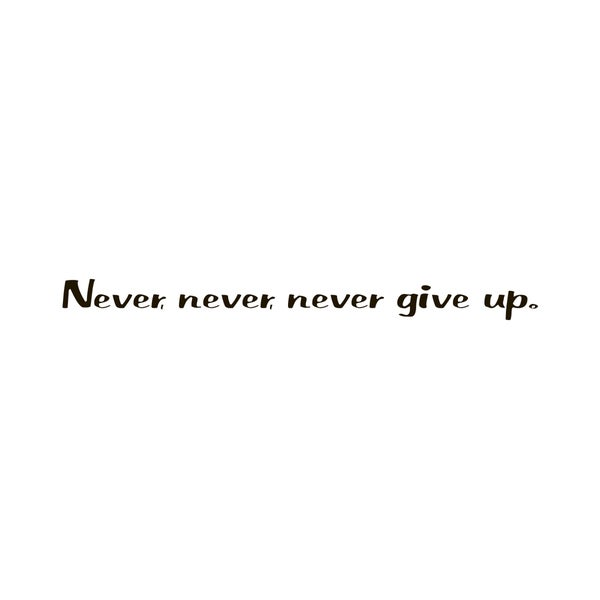 Motivational Quote 'Never never' Black Vinyl Wall Decal