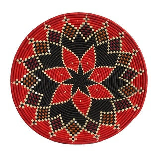 Hand-woven Red/ Black Starburst Basket (Rwanda)