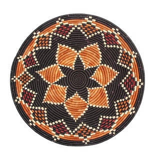 Hand-woven 16-inch Orange/ Black Raffia Basket (Rwanda)