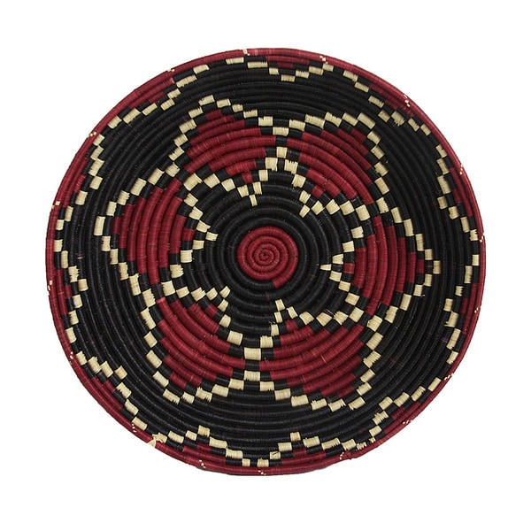 Hand-woven Red/ Black Triple Star Basket (Rwanda)