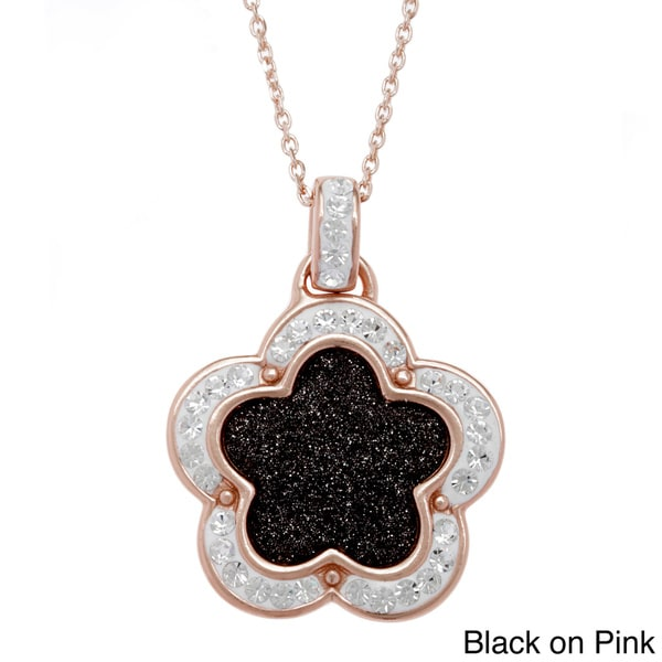 La Preciosa Sterling Silver Sparkling Crystal Flower Necklace