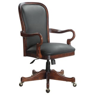 Gooseneck Black Leather Desk Chair
