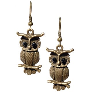Small Antiqued Clock Owl Dangle Earrings