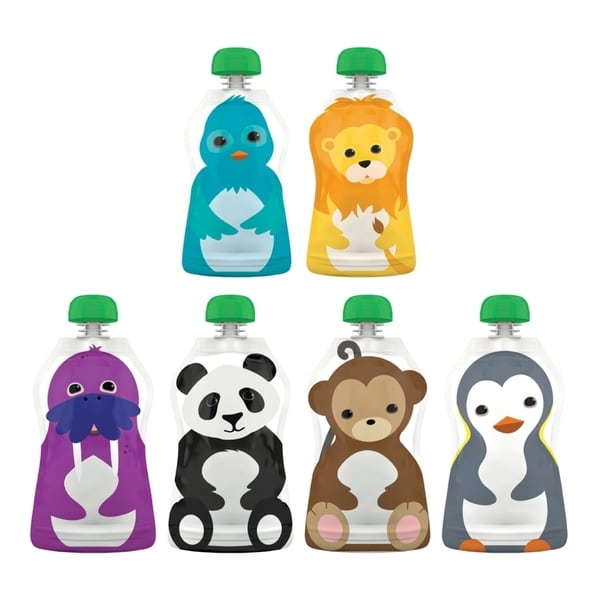 Squooshi Reusable Assorted Food Pouches (Pack of 6)