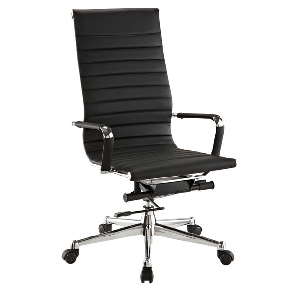 pantera black leather and chrome high back desk chair 16128159
