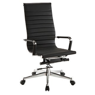 Pantera Black Leather and Chrome High Back Desk Chair