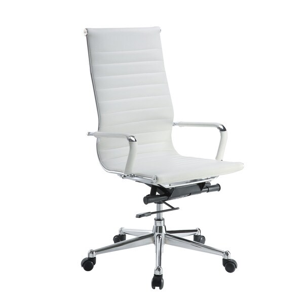 pantera white leather and chrome high back desk chair 16128175