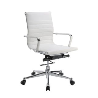 Pantera White Leather and Chrome Low Back Desk Chair
