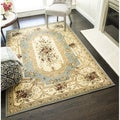Sorrento Aubusson Cream and Multicolored Traditional Floral Rug (5'3 x 7'10)