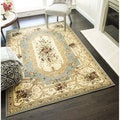 Sorrento Aubusson Cream Traditional Floral Area Rug (6'7 x 9'6)