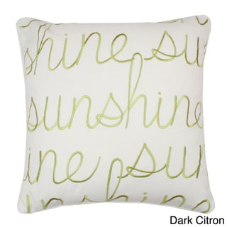 Embroidered 'Sunshine' 18-inch Cotton Throw Pillow