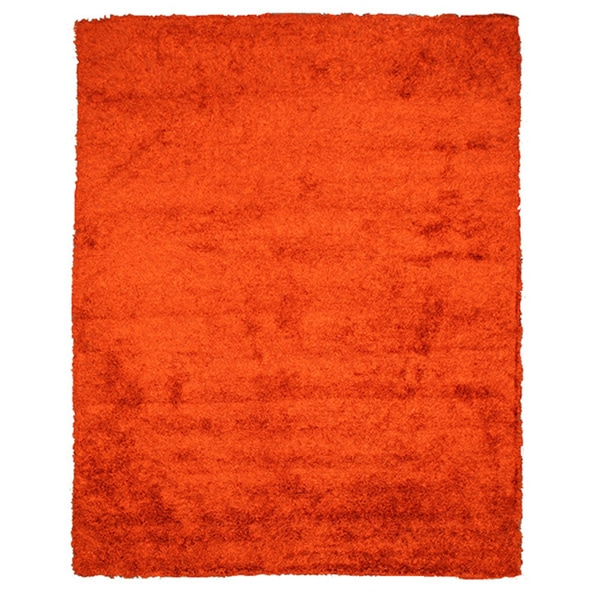 Handmade Shaggy Burnt Orange Wool Blend Rug (5' x 8')