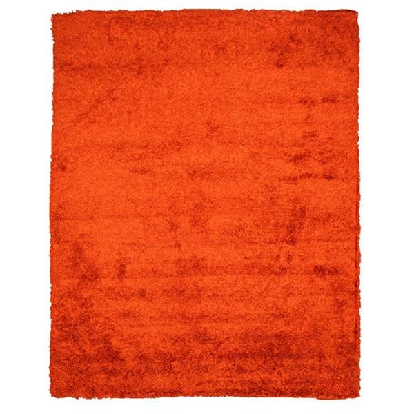Handmade Shaggy Burnt Orange Wool Blend Rug (5' x 8')