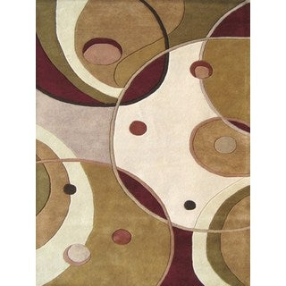 Hand-tufted Geometric Beige Blended Wool Area Rug (5' x 8')