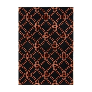 Hand-tufted Geometric Black Blended Wool Area Rug (9' x 12')