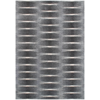 Alliyha Hand-Made Geometric Elephant Grey Blended Wool Area Rug (8' x 10')