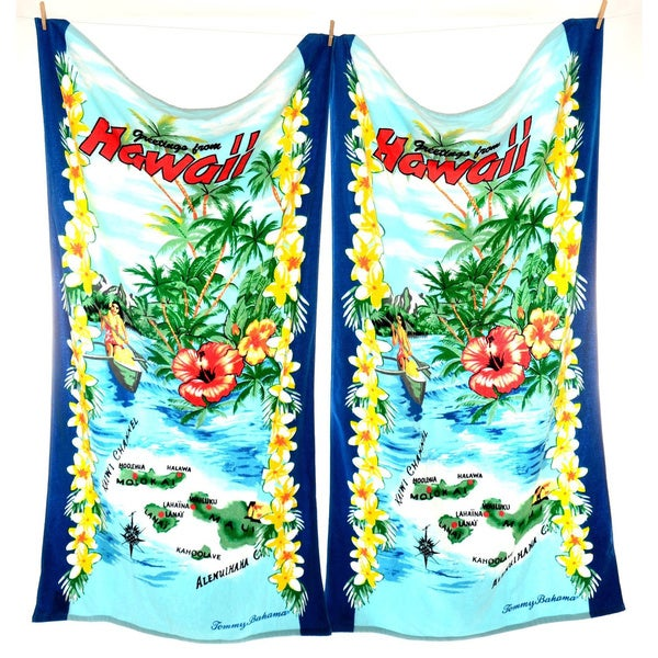 Tommy bahama greetings from hawaii beach towel set of 2 for Bahama towel chaise cover