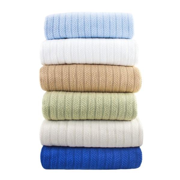 Fresh Herringbone Knit Weave Cotton Blanket
