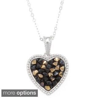 La Preciosa Sterling Silver Crystal Filled Heart Necklace