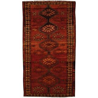 Antique 1960's Persian Hand-knotted Shiraz Red/ Beige Wool Rug (4' x 8')