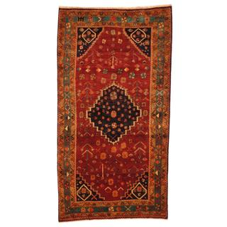 Antique 1970's Persian Hand-knotted Nahavand Hamadan Red/ Green Wool Rug (4'8 x 8'5)