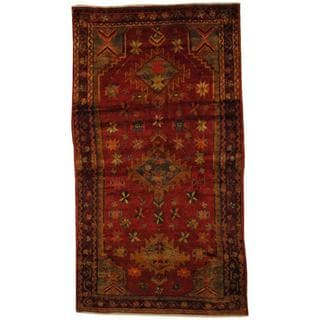 Antique 1960's Persian Hand-knotted Musel Hamadan Red/ Purple Wool Rug (4'6 x 8'2)