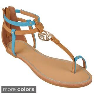 Hailey Jeans Co. Women's 'Horizon-03' Metal Ring T-strap Sandals