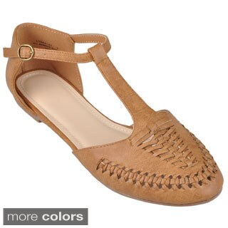 Journee Collection Women's 'Lynna-47' Braided T-strap Flats