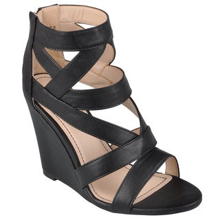 Journee Collection Women's 'Royce-09' Strappy Open Toe Wedges