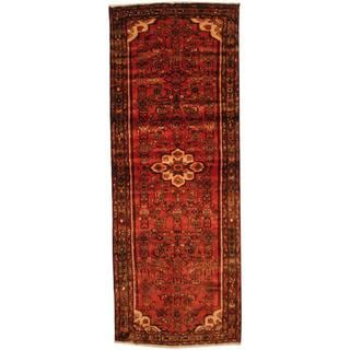 Antique 1970's Persian Hand-knotted Husainabad Red/ Brown Wool Rug (3'8 x 9'8)