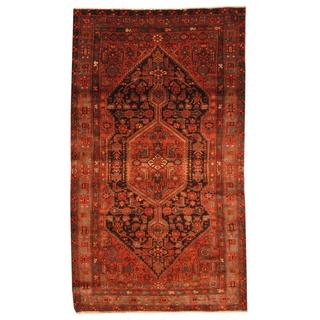 Antique 1970s Persian Hand-knotted Musel Hamadan Navy/ Rust Wool Rug (5' x 8'6)