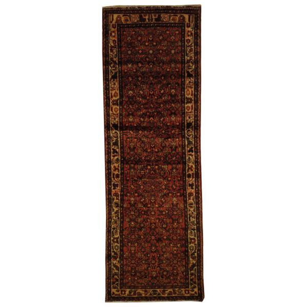 Antique 1970's Persian Hand-knotted Husainabad Hamadan Peach/ Ivory Wool Rug (3'2 x 9'5)