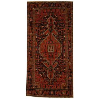 Antique 1960's Persian Hand-knotted Musel Hamadan Navy/ Red Wool Rug (4'3 x 8'10)