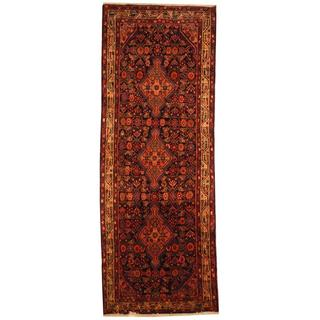 Antique 1970's Persian Hand-knotted Malayer Hamadan Navy/ Ivory Wool Rug (3'9 x 10'3)