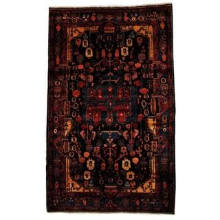 Antique 1980's Persian Hand-knotted Tribal Nahavand Hamadan Navy/ Red Wool Rug (5'2 x 8'5)
