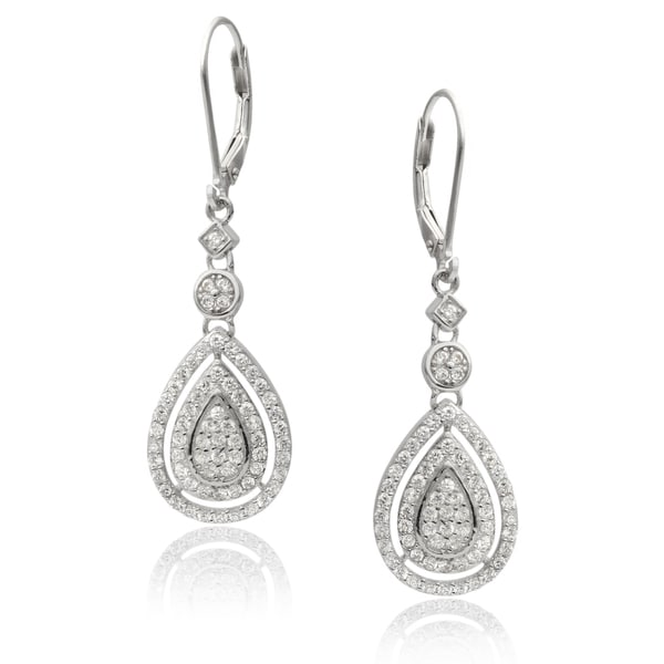 Journee Collection Sterling Silver Cubic Zirconia Tear-drop Earrings
