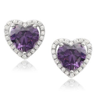 Journee Collection Sterling Silver Cubic Zirconia Heart-shaped Earrings