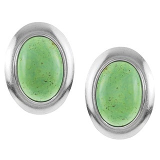 Riverbend Sterling Silver Chrysoprase Handcrafted Stud Earrings