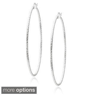 Tressa Collection Sterling Silver Diamond-cut Hoop Earrings