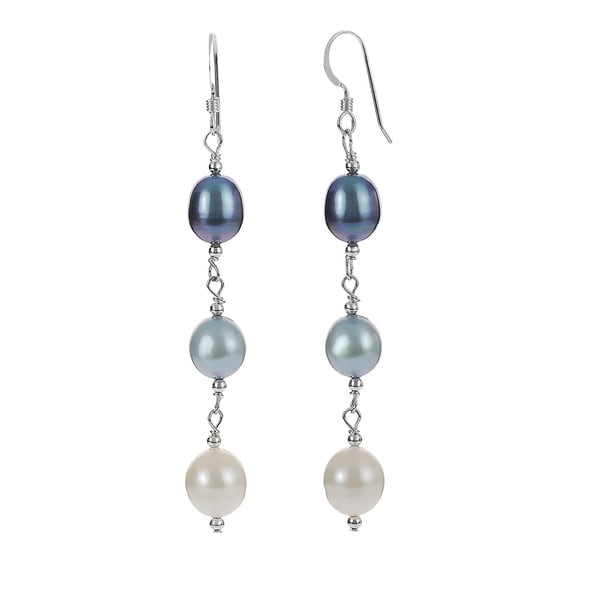 Riverbend Sterling Silver Freshwater Pearl Drop Earrings (7-8 mm)