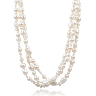 Riverbend Handcrafted Sterling Silver Fresh Water Pearl Necklace (4-10 mm)