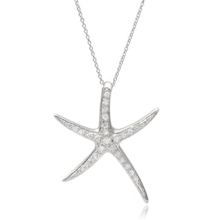 Journee Collection Sterling Silver Cubic Zirconia Starfish Pendant Necklace