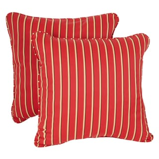 Red/ Gold Stripe Corded Indoor/ Outdoor Square Throw Pillows with Sunbrella Fabric (Set of 2)
