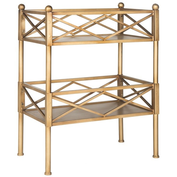 Safavieh jamese gold storage shelves 16128426 for Furniture of america nara contemporary 6 shelf tiered open bookcase