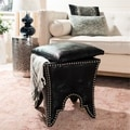Safavieh Deidra Black PU Leather Ottoman